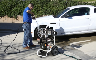 2700 psi pressure washer in use